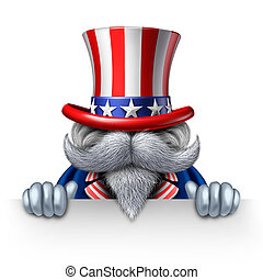 Uncle Sam Horizontal Sign - Uncle Sam character holding a...