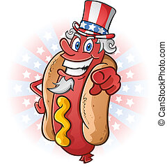 Uncle Sam Hot Dog Cartoon - A happy smiling hot dog cartoon...