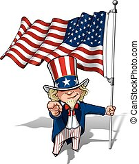 """Vector Cartoon Illustration of Uncle Sam holding a waving American flagand pointing """"I want you"""" like the classic WWI poster."""