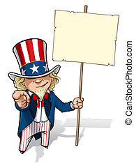 Clean-cut, overview cartoon illustration of Uncle Sam pointing the finger in a classic WWI poster style and holding a placard.