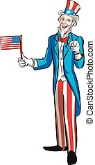 uncle sam in full growth hold small american flag and...