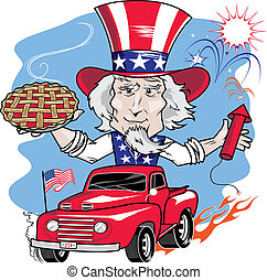 Uncle Sam in vintage truck with cherry pie and fireworks