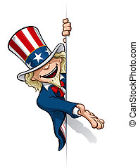 Uncle Sam Presenting a Banner - Clean-cut, overview cartoon...