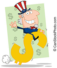 Uncle Sam Riding On A Dollar
