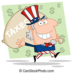 Uncle Sam Runs And Aarries A Bag - Happy Uncle Sam Runs And...
