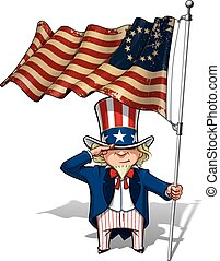 Uncle Sam Saluting the Betsy Ross Flag - Vector Cartoon...