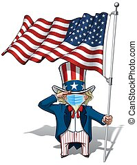 Uncle Sam Saluting the US Flag - Surgical Mask