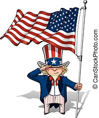 Uncle Sam Saluting the US Flag - Vector Cartoon Illustration...