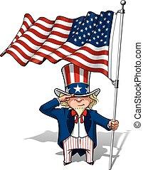 Uncle Sam Saluting the US Flag - Vector Cartoon Illustration...
