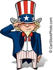 Vector Cartoon Illustration of Uncle Sam saluting.