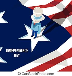 Uncle Sam United States Flag Happy Independence Day American Holiday