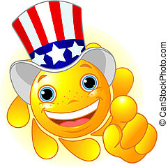 Uncle Sam Wants You! - Cute and shiny Sun with Uncle Sam hat...