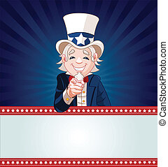 Uncle Sam Wants You! - Uncle Sam pointing. Perfect for a USA...