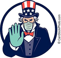 Uncle Sam Wearing Mask Stop Hand Signal Mascot - Mascot icon...