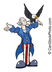 Uncle Sam with eagle - vector