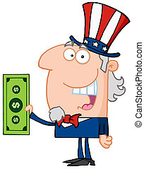 Uncle Sam With Holding A Dollar Bill Cartoon Character