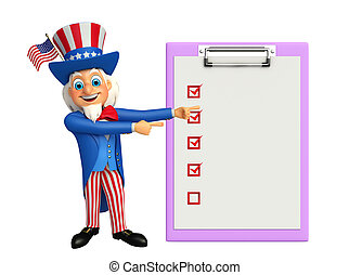 Uncle Sam with notepad - Illustration of uncle sam with...