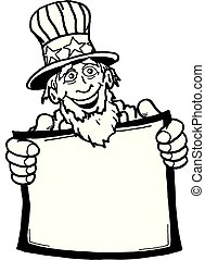 Uncle Sam001BW.eps - Cartoon of Uncle Sam holding a blank...