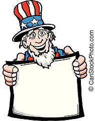 Uncle Sam001C.eps - Cartoon of Uncle Sam holding a blank...