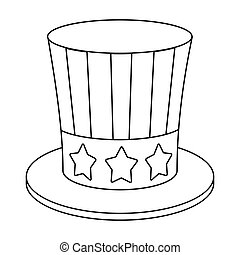 Uncle Sam's hat icon in outline style isolated on white background. Patriot day symbol stock vector illustration.