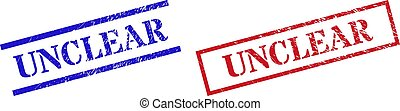 Grunge UNCLEAR seal stamps in red and blue colors. Stamps have rubber surface. Vector rubber imitations with UNCLEAR label inside rectangle frame, or parallel lines.