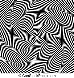 Uncolored, grayscale radiating shape with spirally, vortex distortion.