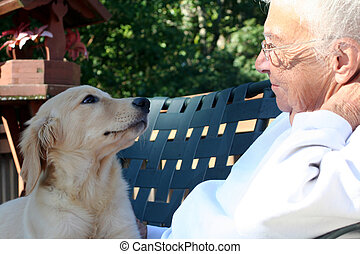Unconditional Love - Smiling senior citizen woman looking...