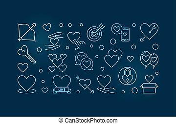 Unconditional Love vector blue outline horizontal ...