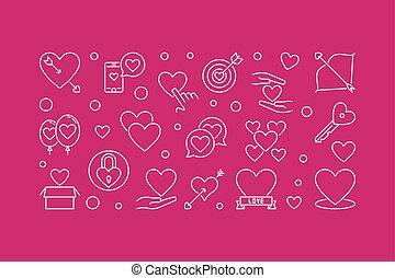 Unconditional love vector outline horizontal illustration - ...