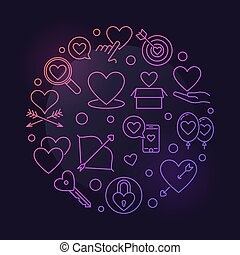 Unconditional Love vector round colored outline illustration...