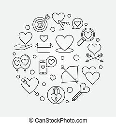 Unconditional love vector round illustration in thin line ...