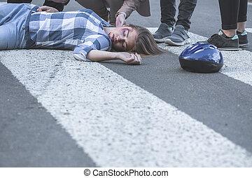 Unconscious casualty of a car crash