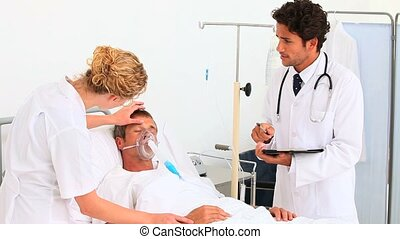 Unconscious patient having a visit