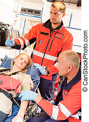 Unconscious patient woman emergency ambulance
