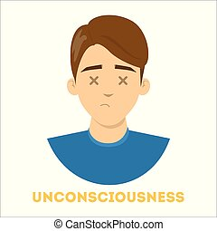 Unconsiousness concept. Emergency case, danger for the health