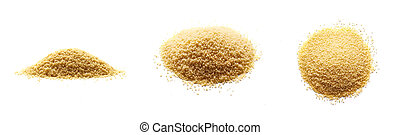 uncooked couscous isolated on white background. three types of view top, front