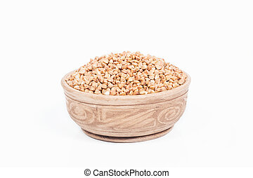 Uncooked buckwheat in a dish