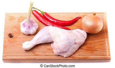 uncooked, chicken
