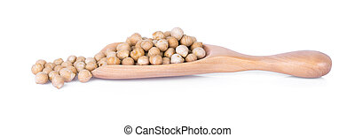 uncooked chickpeas in wooden spoon on white background.