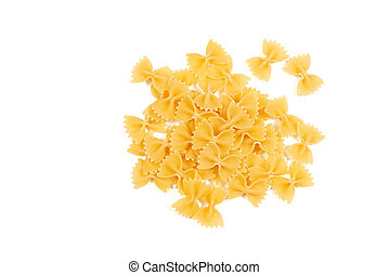 Uncooked farfalle pasta isolated on white background. Top view