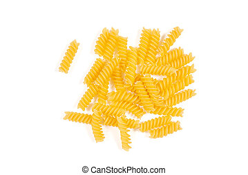 Uncooked fusilli pasta isolated on white background. Top view