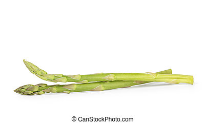 uncooked green asparagus, isolated on white background