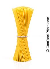 Uncooked pasta spaghetti macaroni isolated on white background