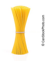 Uncooked pasta spaghetti macaroni isolated on white...