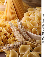 uncooked pasta - variety of unoocked pasta