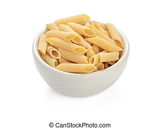 uncooked penne pasta isolated on a white background