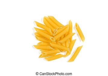 Uncooked penne pasta isolated on white background. Top view