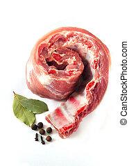 Uncooked pork ribs