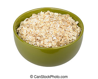 uncooked rolled oats isolated on white background