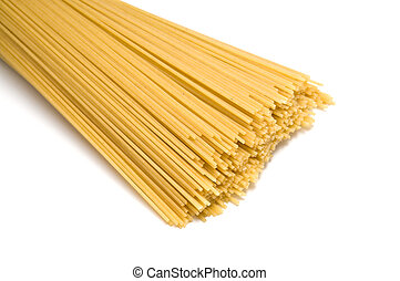 uncooked spaghetti noodles isolated on white